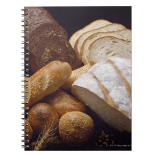Different types of artisan bread spiral note books