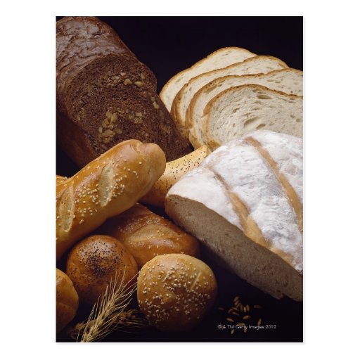 Different types of artisan bread postcard