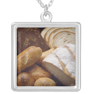 Different types of artisan bread silver plated necklace