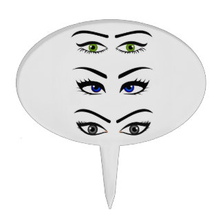 Different types of womens eyes cake topper