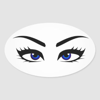 Different types of womens eyes oval sticker