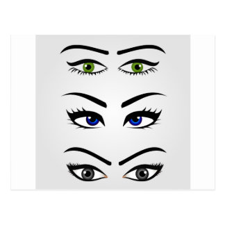 Different types of womens eyes postcard