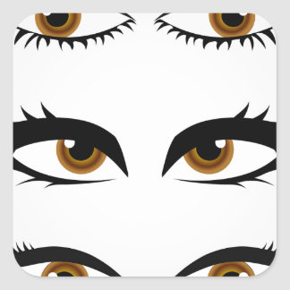 Different types of womens eyes square sticker