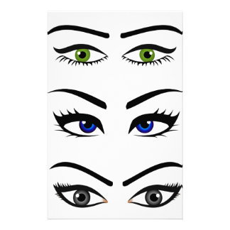 Different types of womens eyes stationery