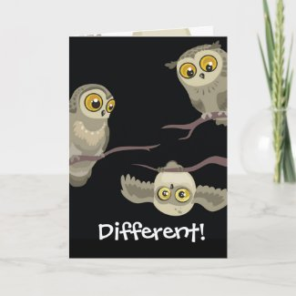Different! Upside Down Owl Greeting Card zazzle_card