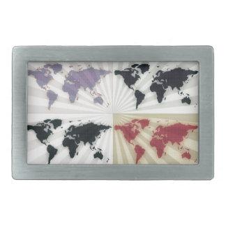 Different world maps rectangular belt buckles