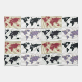 Different world maps hand towels