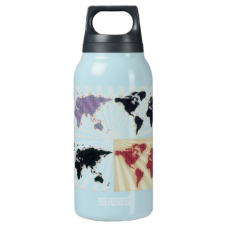 Different world maps insulated water bottle