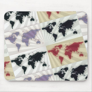 Different world maps mouse pad