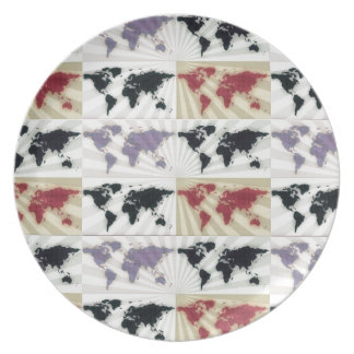 Different world maps party plates