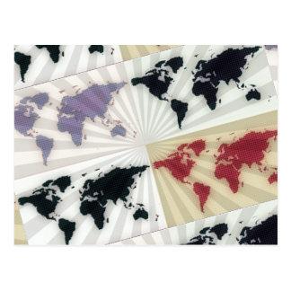 Different world maps postcard