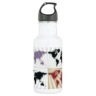 Different world maps water bottle