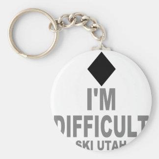Difficult Ski Utah Keychain
