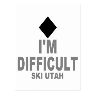 Difficult Ski Utah Postcard