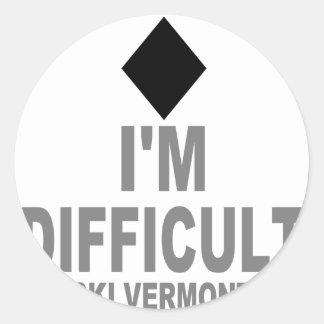 Difficult_Ski_VERMONT Pegatina Redonda