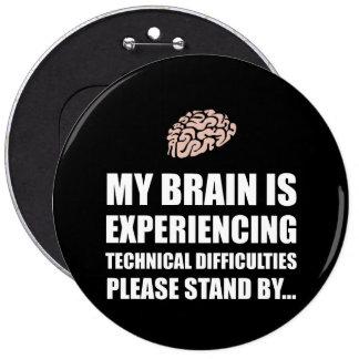 Dificultades técnicas White.png del cerebro Pin Redondo 15 Cm