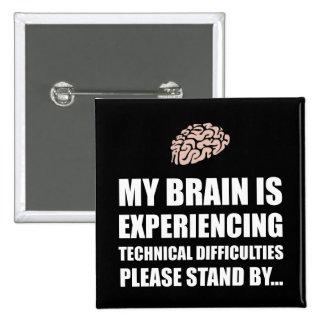 Dificultades técnicas White.png del cerebro Pin Cuadrada 5 Cm