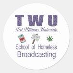 Difusión sin hogar de Ted Williams Pegatina Redonda