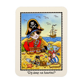 Dig deep me hearties! Pirate Cat Mouse magnet