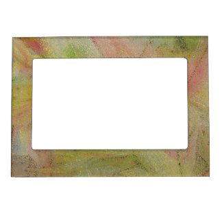DIG.MANIP./FLORAL ABSTRACT:YELLOWS, GREENS, PINKS MAGNETIC PICTURE FRAME