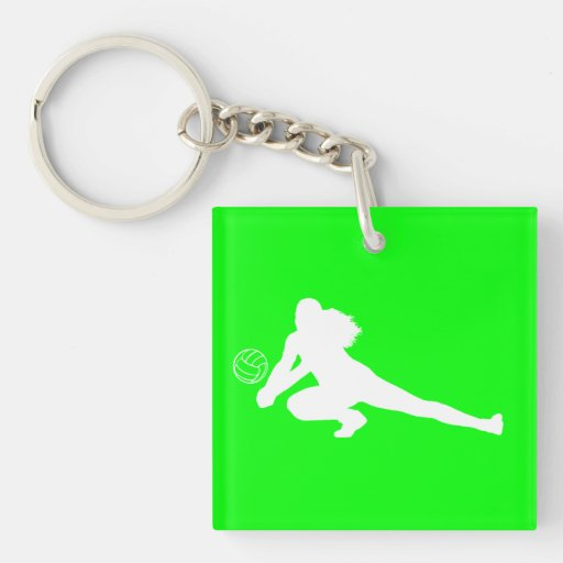 Dig Silhouette Acrylic Keychain w/Name Green