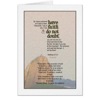 Diga a la montaña - 21:21 de Matthew Tarjeta De Felicitación