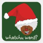 Diga a Santa negro lo que usted quiere para el Calcomanía Cuadradas