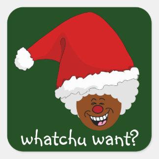 Diga a Santa negro lo que usted quiere para el Pegatina Cuadrada