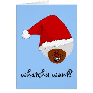 Diga a Santa negro lo que usted quiere para el Tarjeta De Felicitación