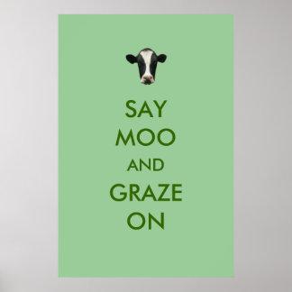 Diga el MOO y paste en el poster divertido de la v Póster