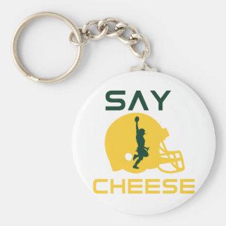 Diga el queso llavero redondo tipo pin