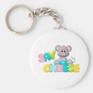 Diga el regalo del ratón del queso para los niños llavero redondo tipo pin