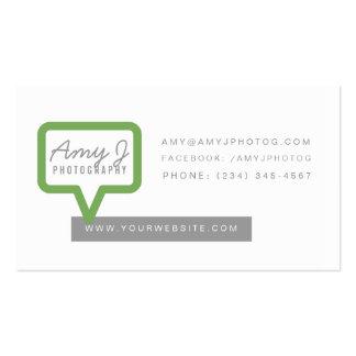 Diga en voz alta la tarjeta de visita en verde