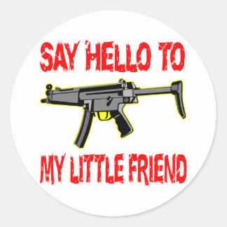 Diga hola a mi pequeño amigo etiqueta redonda