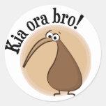 Diga hola en kiwi pegatinas redondas