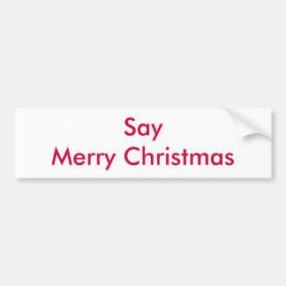 Diga las Felices Navidad Pegatina Para Auto