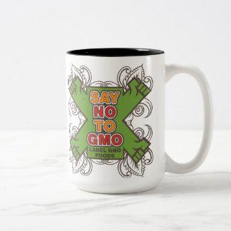 Diga no a GMO Taza De Dos Tonos