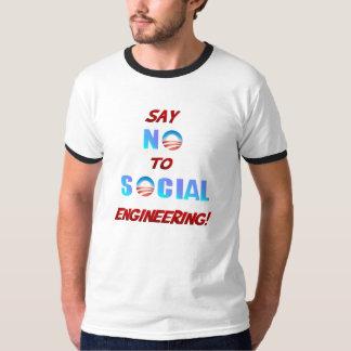 Diga NO a la camiseta de la ingeniería social Poleras