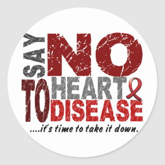 Diga NO a la enfermedad cardíaca 1 Pegatinas Redondas