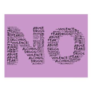 Diga no a la violencia, al abuso, a las drogas, al postal
