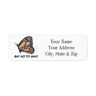 Diga no a las etiquetas del remite de la mariposa  etiqueta de remite