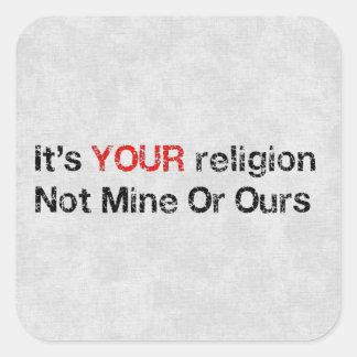 Diga no a los cultos de dios pegatina cuadrada
