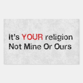 Diga no a los cultos de dios pegatina rectangular