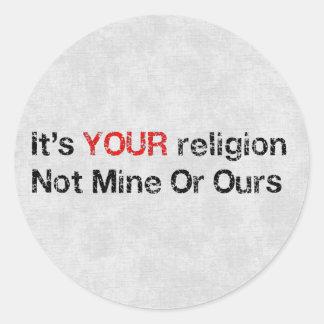 Diga no a los cultos de dios pegatina redonda