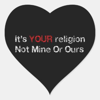 Diga no a los cultos de dios pegatina en forma de corazón