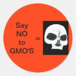 DIGA NO A LOS PEGATINAS DE GMO - CRÁNEO PEGATINA REDONDA