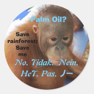 Diga no al aceite de palma etiquetas redondas