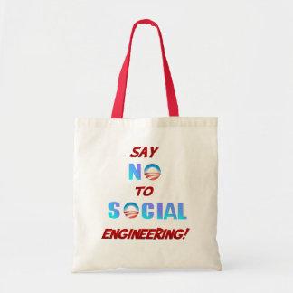Diga NO al bolso de la ingeniería social Bolsa Tela Barata