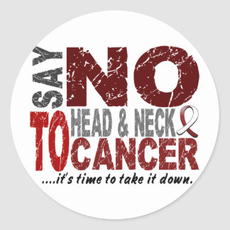 Diga NO al cáncer de cabeza y cuello 1 Etiquetas Redondas