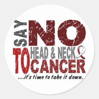 Diga NO al cáncer de cabeza y cuello 1 Pegatina Redonda